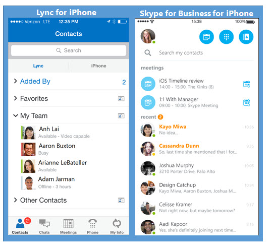 Skype For Business for iOS - New Look and Feel